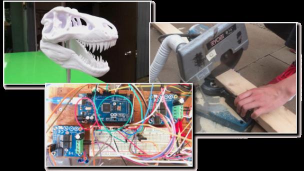 3Dプリンターで作った恐竜の骨、電動ノコギリ、電子工作