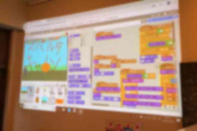 小学4年生が開発中のスクラッチ作品画面